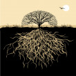 Tree silhouette with roots - Stok Vektör