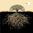 Tree silhouette with roots - Stok Vektr