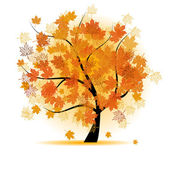 Maple tree, autumn leaf fall — Stockvector