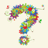 Question mark. Floral design — Stock Vector