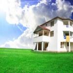 Nice house on green field — Stock Photo