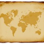 Ancient world map, grunge background — Stock Photo