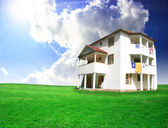 Nice house on green field — Stock Photo