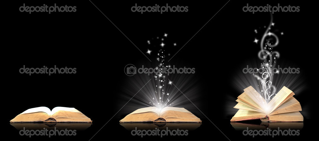 Open book magic on black — Stock Photo #2582270