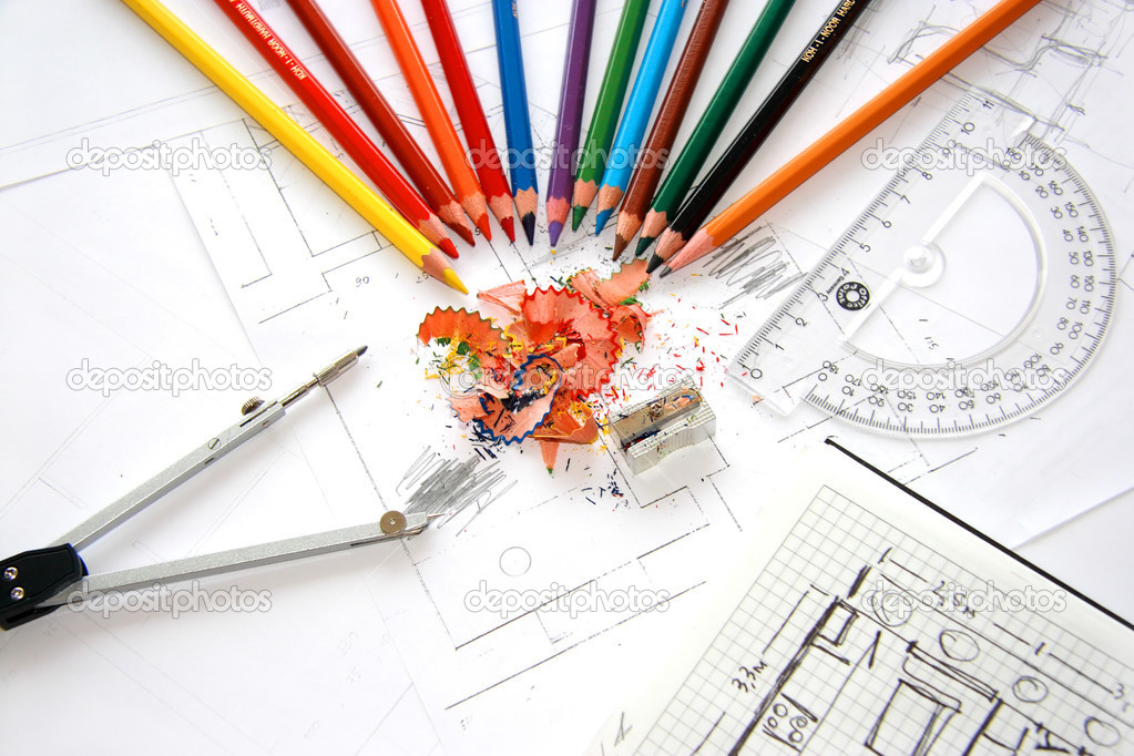 Workplace of designer interior stock photo kudryashka for Image of interior design