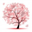 Floral tree beautiful — Vettoriali Stock