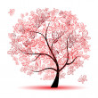 Floral tree beautiful - Stock vektor