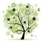 árbol de flores hermosa — Vector de stock