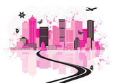 Cityscape background, urban art — Vector de stock
