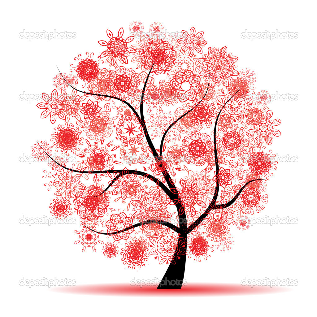 Floral tree beautiful — Stock Vector #2659875