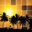 Stock Vector: Tropical sunset, mosaic background