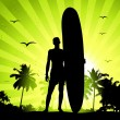 Summer holiday, man with surfboard - Imagens vectoriais em stock