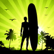 Summer holiday, man with surfboard - Imagen vectorial