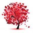 Valentine tree, love, leaf from hearts — Vettoriali Stock
