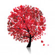 Valentine tree, love, leaf from hearts — Vector de stock