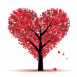 Valentine tree, love, leaf from hearts - Stok Vektör