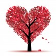 Valentine tree, love, leaf from hearts — Grafika wektorowa