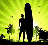 Summer holiday, man with surfboard — Stock Vector
