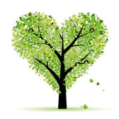 Valentine tree, love, leaf from hearts — Cтоковый вектор