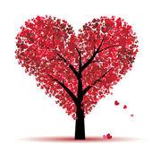 árbol de san valentín, amor, hoja de corazones — Vector de stock