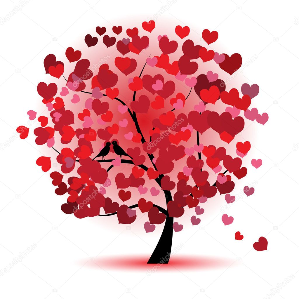 Valentine tree, love, leaf from hearts — Stock Vector #2660720