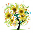 Floral tree beautiful — Stock Vector