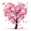 Valentine tree, love, leaf from hearts — Imagen vectorial