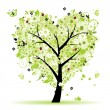 Valentine tree, love, leaf from hearts - Imagen vectorial