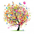 Vector de stock : Happy holiday, funny tree with ballons