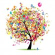Happy holiday, funny tree with ballons — Image vectorielle