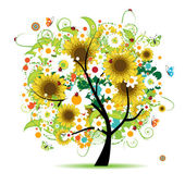 Floral tree beautiful — Vetorial Stock