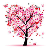Valentine tree, love, leaf from hearts — Vettoriale Stock