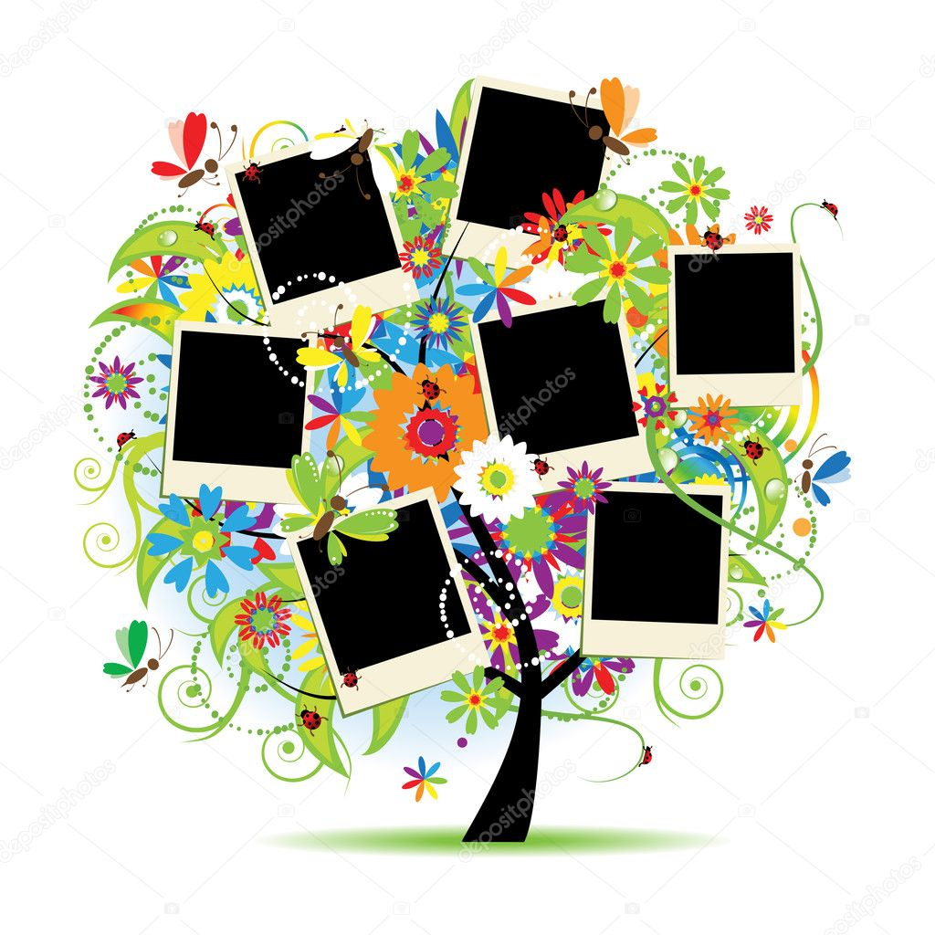 Family album. Floral tree with frames for your photos. — Stok Vektör #2683468