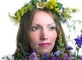 Frauen mit floralen kranz — Stockfoto