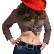 Girl in a red hat and jeans - Stock Photo