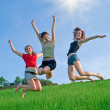 Royalty-Free Stock Photo: Girls jump on the meadow