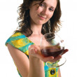 Woman the cognac drinks — Stock Photo