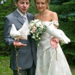 Bride and groom with pigeons — Stock Photo #1071224