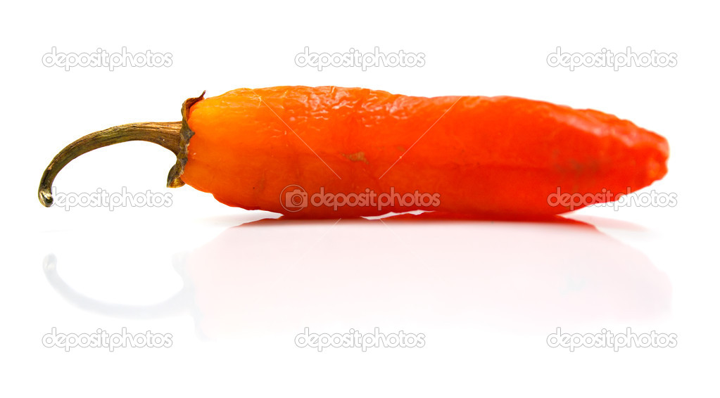 Red pepper on a white background. Isolation, shallow DOF  Stock Photo #1282930