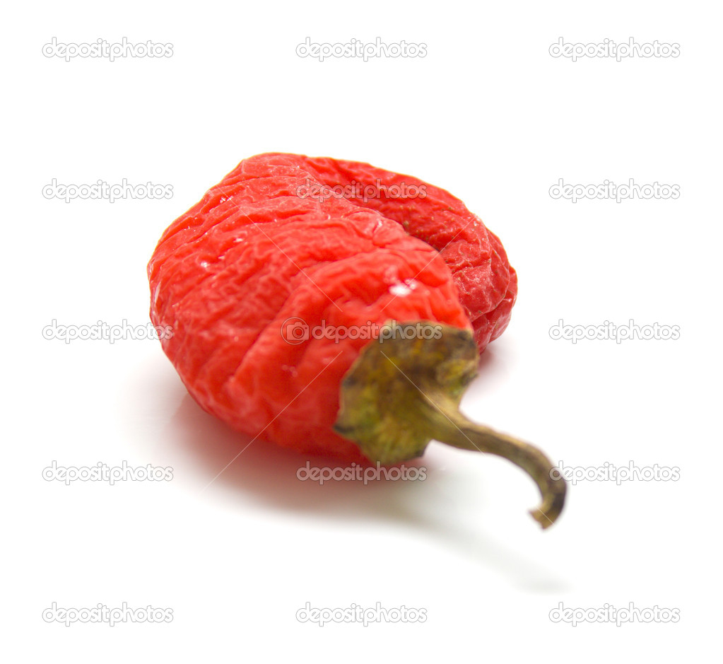 Red pepper on a white background. Isolation, shallow DOF  Stock Photo #1282945