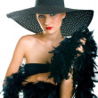 Stock Photo: Women in black hat and boa