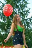 Joyful girl with balloon — Stock Photo