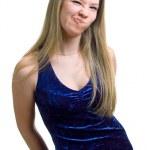 Fun girl in blue dress — Stock Photo #1360270