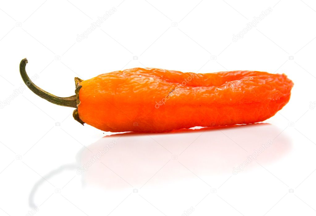 Red pepper on a white background. Isolation, shallow DOF — Stock Photo #1368617
