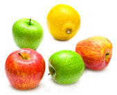 Apples and lemon — Stock Photo