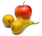 Green pears and red apple — Stock Photo