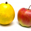 Red apple and yellow pear — Stock Photo