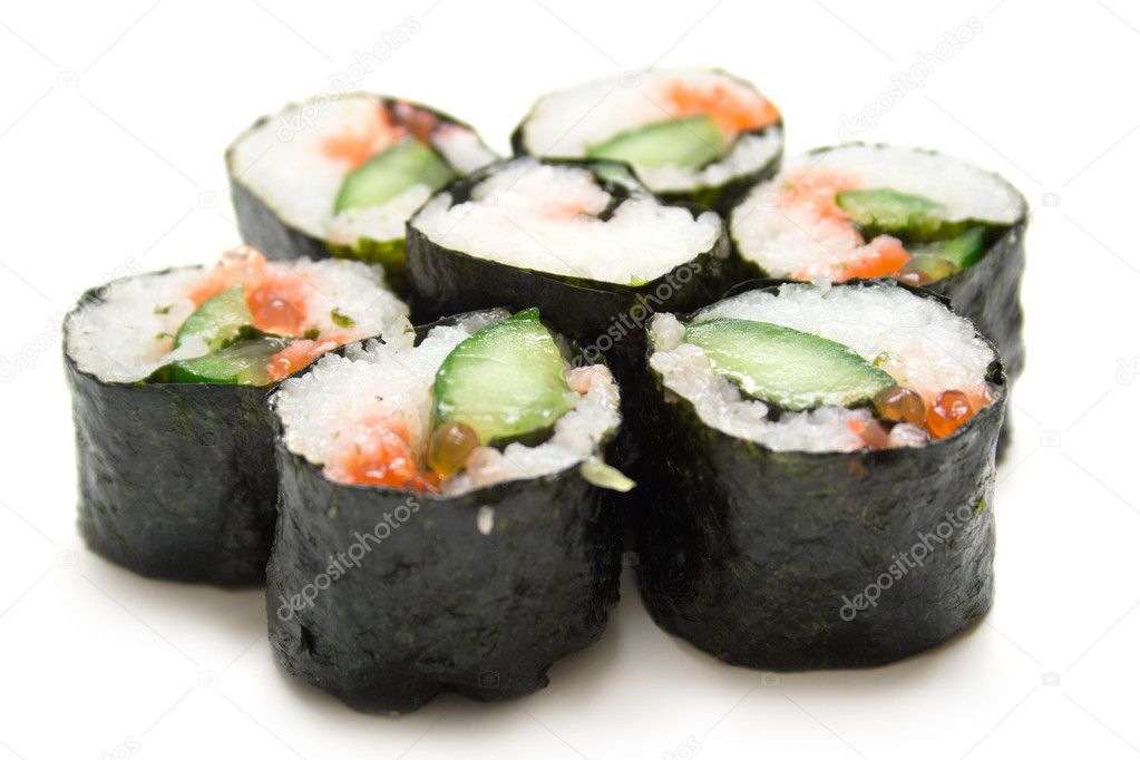 Japanese sushi nori on a white background. Isolation, shallow DOF — Stock Photo #1438817