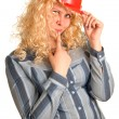 Young women in a red building helmet — Stock Photo