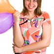 Joyful woman with balloons — Stock Photo